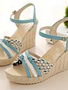 Sandal ( Blå/Grön/Beige ) - till KVINNOR Kilklack - Öppen tå - i Läderimitation