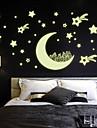 lysande väggdekorationer väggdekaler stil moon hus stjärna pvc vägg klistermärken