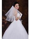 Wedding Veil Two-tier Elbow Veils Ribbon Edge Tulle White White / Ivory / Beige