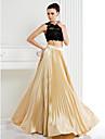 Linia -A Bijuterie Lungime Podea Dantelă Satin Stretch Seară Formală Rochie cu Dantelă de TS Couture®