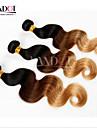 3 st hel 14-28 ombre mongoliska jungfru hårförlängningar vågigt tre ton svart brun blond 1b / 4/27 # människohår väva