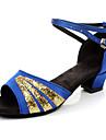 Chaussures de danse(Noir Bleu Rouge Multicolore) -Non Personnalisables-Talon Bas-Satin Synthetique-Latine Flamenco Samba Salsa
