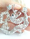 Women Accessories Silver-tone Clear Rhinestone Crystal Dragon Brooch Art Deco Crystal Brooch
