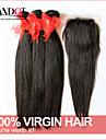 6a obearbetat brasilianska jungfru håret rakt med stängning 3 buntar med 4 * 4 spets stängning människohår väv av nedläggning