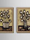 peinture a l\'huile decoration fleur peinte a la main lin naturel avec la main tendue encadree - ensemble de 2