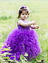 A-line Floor-length Flower Girl Dress - Lace / Satin / Tulle Sleeveless Jewel with