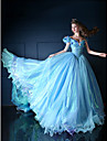 Formal Evening Dress Ball Gown V-neck Chapel Train Organza / Tulle / Charmeuse with Beading / Bow(s) / Flower(s) / Pick Up Skirt / Ruffles