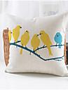 fåglar parti mönster lantlig stil bomull / linne dekorativa kuddöverdrag