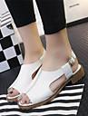 Sandales ( PU , Blanc/Amande ) Talon plat - 0-3cm pour Chaussures femme