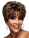 utsökta kvinnors frisyr syntetiskt hår peruk lockigt brunt eleganta kort hår peruker