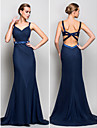 Formal Evening / Military Ball Dress - Dark Navy Plus Sizes / Petite Trumpet/Mermaid Straps Sweep/Brush Train Chiffon