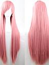 ny anime cosplay rosa långt rakt hår peruk 80cm
