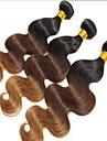 """3st mycket 12 """"-24"""" brasiliansk ombre tre ton färg T1B / 4/30 vågigt hår väver / buntar"""