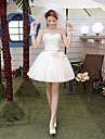 A-line Wedding Dress Sparkle & Shine Short / Mini Sweetheart Tulle with Beading Sash / Ribbon Bow
