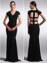 Formeller Abend Kleid - Schwarz Chiffon - Etui-Linie - bodenlang - V-Ausschnitt