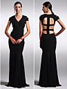 Formal Evening Dress - Beautiful Back Plus Size / Petite Sheath / Column V-neck Floor-length Chiffon with
