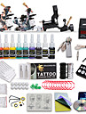 Professional Tattoo Kit 3 Top Machines 10 Color Inks 1 Rotary Machine 2 Cast Iron Machines Liner & Shader LCD Power 20 Tattoo Needles No Carrying Case