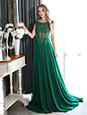 Formal Evening Dress Plus Size A-line Scoop Court Train Chiffon with Appliques / Beading