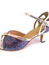 Customized Women\'s Latin Sandals Customized Heel Dance Shoes with Rhinestone Buckle