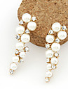 Drop Earrings Pearl Imitation Pearl Rhinestone Simulated Diamond Alloy White Jewelry 2pcs