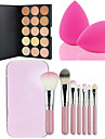 vente chaude 15 couleurs face contour creme anticernes maquillage palette + 7pcs rose brosses boite de maquillage mis en kit + Powder Puff