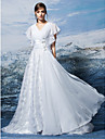 Lanting Bride A-line Petite / Plus Sizes Wedding Dress-Sweep/Brush Train V-neck Chiffon