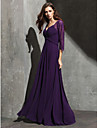 Formal Evening / Black Tie Gala Dress Plus Size / Petite A-line Sweetheart Floor-length Lace / Georgette with Lace / Criss Cross