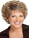 kvinnor lady kort syntetiskt hår peruker pixie cut peruk kort vågigt hår brunt med blonda slingor peruk
