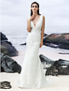 Lanting Trumpet/Mermaid Sweep/Brush Train Wedding Dress - V-neck Lace