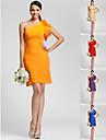 Heimkehr knielangen Kleid Brautjungfer - Orange UEbergroessen Mantel / Spalte einer Schulter