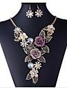 Collier / Boucles d\'Oreille (Rose Plaque Or / Alliage / Strass) Vintage / Soiree pour Femme