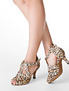 Chaussures de danse(Leopard) -Personnalisables-Talon Personnalise-Satin-Latine Salon