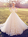 Ball Gown Wedding Dress Court Train Off-the-shoulder Lace with