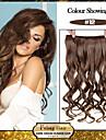 5 clips vågig honungsbrun (# 12) syntetiskt hår klipp i hårförlängningar för damer fler färger