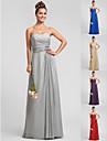 Brautjungfernkleid - Silber Chiffon - Etui-Linie - bodenlang - Herz-Ausschnitt UEbergroesse
