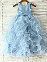 Princess / Sheath / Column Floor-length Flower Girl Dress - Organza Sleeveless Jewel with