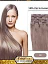 """24 """"Ash Brown (# 8) 8st klipp i mänskliga hårförlängningar"""