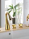 Antik Badkar och dusch Vattenfall / Handdusch inkluderad with  Keramisk Ventil Tre Handtag Fem hål for  Ti-PVD , Badkarskran