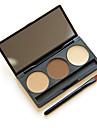 kosmetisk smink kit 3 färger ögonbryn pulver palett ögonbrynet med borste spegel