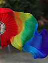 Belly Dance Real Natural Silk Rainbow Fan Veils 2pcs/lot 1R+1L