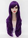 70cm de long cheveux boucles couches avec bang cote violet harajuku perruque synthetique lolita partie resistant a la chaleur