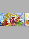 Peint a la main Abstrait / A fleurs/BotaniqueModern Trois Panneaux Toile Peinture a l\'huile Hang-peint For Decoration d\'interieur