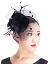 Lady Polyester Feather Flowers Birdcage Veil Bridal Fascinators Wedding Hat White/Black/Red