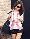 Women\'s Solid Pink / White / Black / Beige Blazer , Casual Notch Lapel Long Sleeve