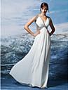 시스 / 칼럼 V-넥 바닥 길이 스팽글 조젯 포멀 이브닝 드레스 와 크리스 크로스 스팽글 으로 TS Couture®