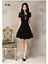 Women\'s Black/White/Pink Chiffon Dress