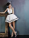Kleid Ballkleid V-Ausschnitt Kurz / Mini Elasthan mit Schaerpe / Band