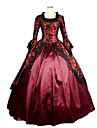 One-Piece Ball Gown Gothic Lolita Steampunk®/Vintage/Victorian Cosplay Lolita Dress Red Long Length Dress For Women Prom Reenactment Theatre Clothing