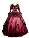 Une Piece/Robes Gothique Steampunk® / Inspiration Vintage Cosplay Vetements de Lolita Rouge Vintage Manches longues Long Robe Pour Femme