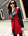 Women\'s Patchwork/Color Block Lapel Trench Coat , Casual/Work Long Sleeve Tweed/PU